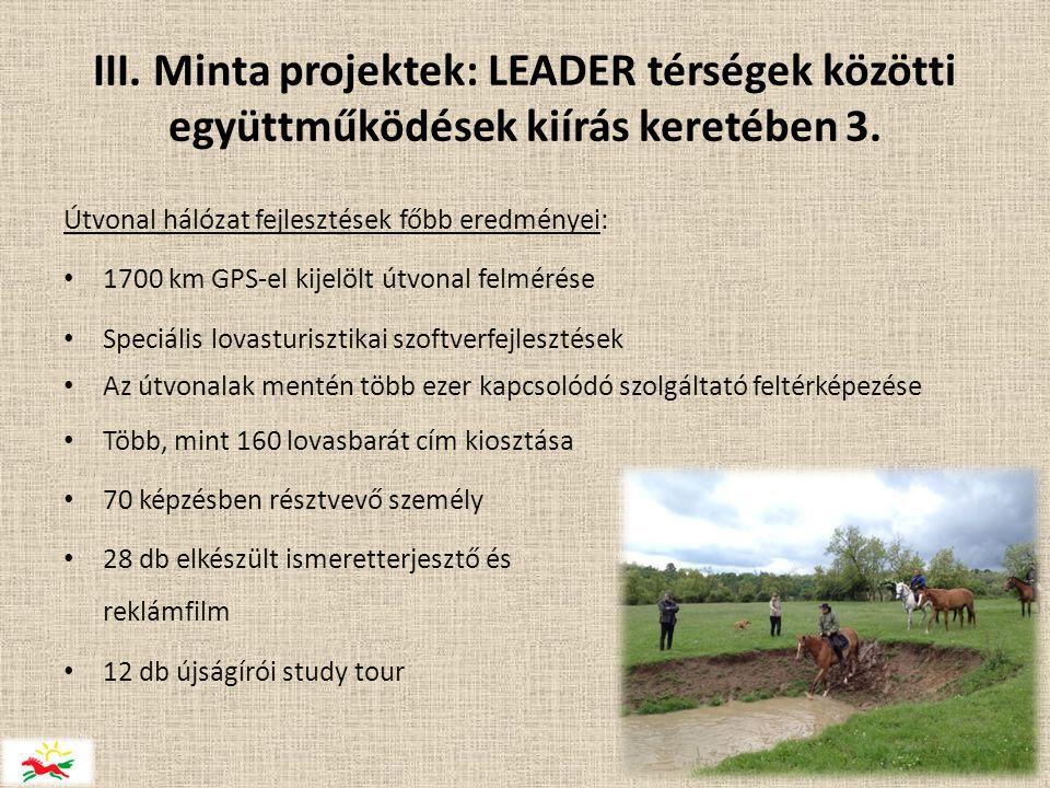 III. Minta projektek: LEADER térségek közötti együttműködések kiírás keretében 3.