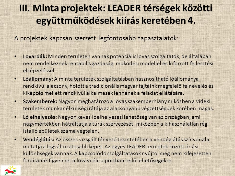 III. Minta projektek: LEADER térségek közötti együttműködések kiírás keretében 4.