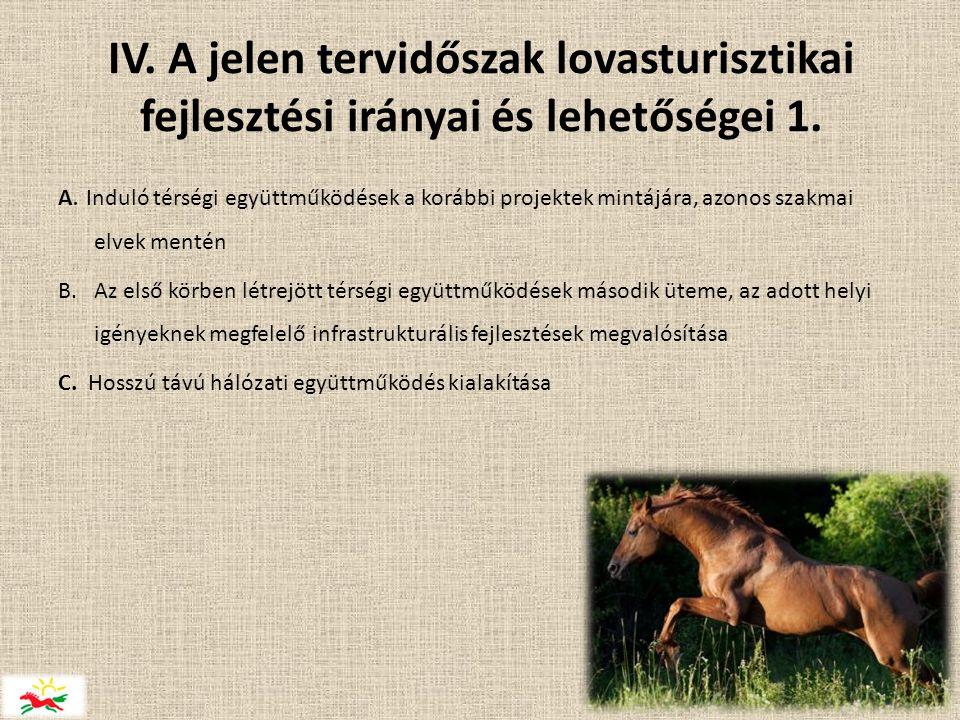 IV. A jelen tervidőszak lovasturisztikai fejlesztési irányai és lehetőségei 1.