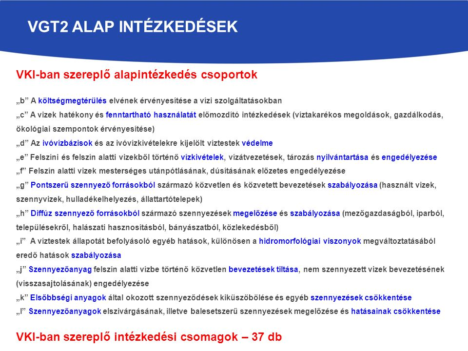VGT2 Alap intézkedések VKI-ban szereplő alapintézkedés csoportok