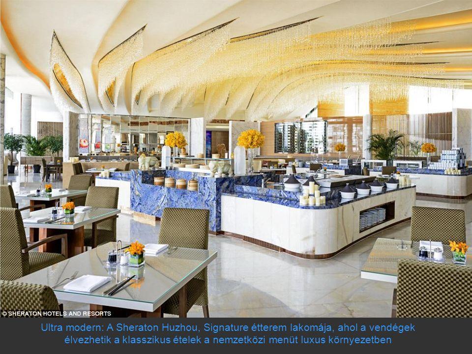 Ultra modern: A Sheraton Huzhou, Signature étterem lakomája, ahol a vendégek élvezhetik a klasszikus ételek a nemzetközi menüt luxus környezetben