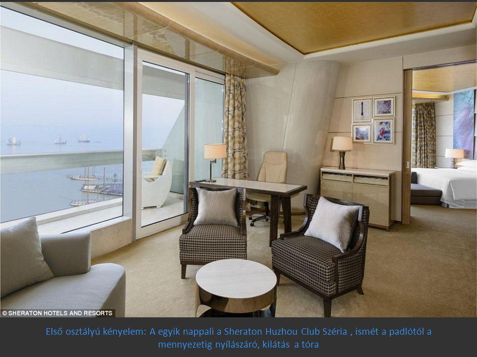 Első osztályú kényelem: A egyik nappali a Sheraton Huzhou Club Széria , ismét a padlótól a mennyezetig nyílászáró, kilátás a tóra