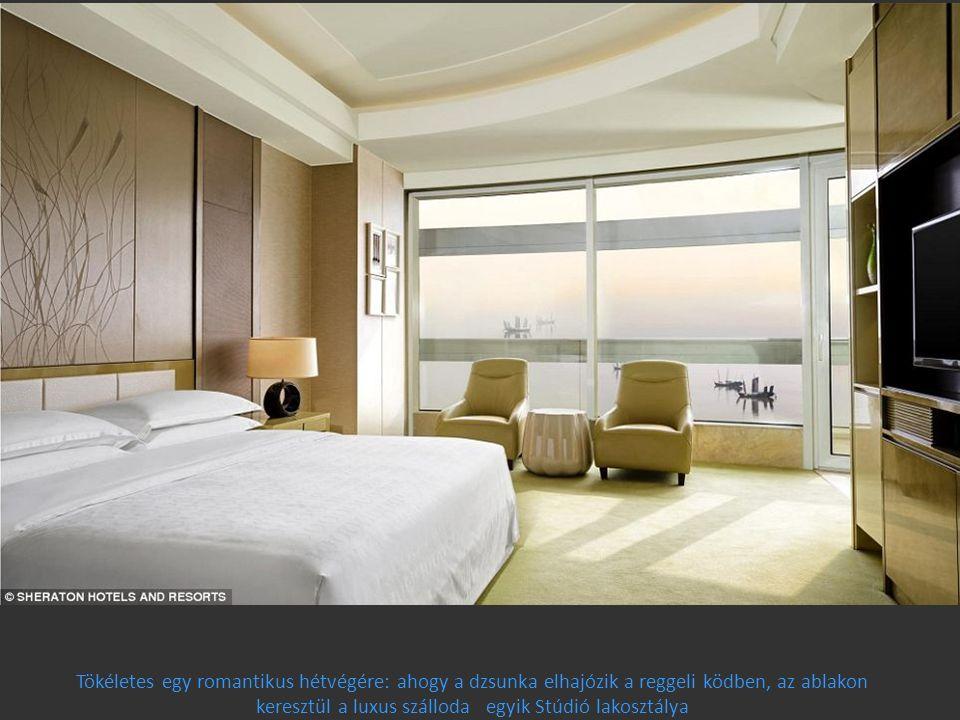 Tökéletes egy romantikus hétvégére: ahogy a dzsunka elhajózik a reggeli ködben, az ablakon keresztül a luxus szálloda egyik Stúdió lakosztálya