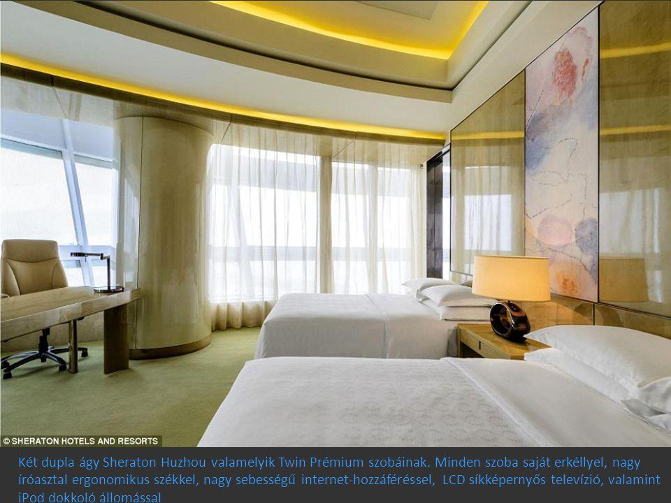 Két dupla ágy Sheraton Huzhou valamelyik Twin Prémium szobáinak