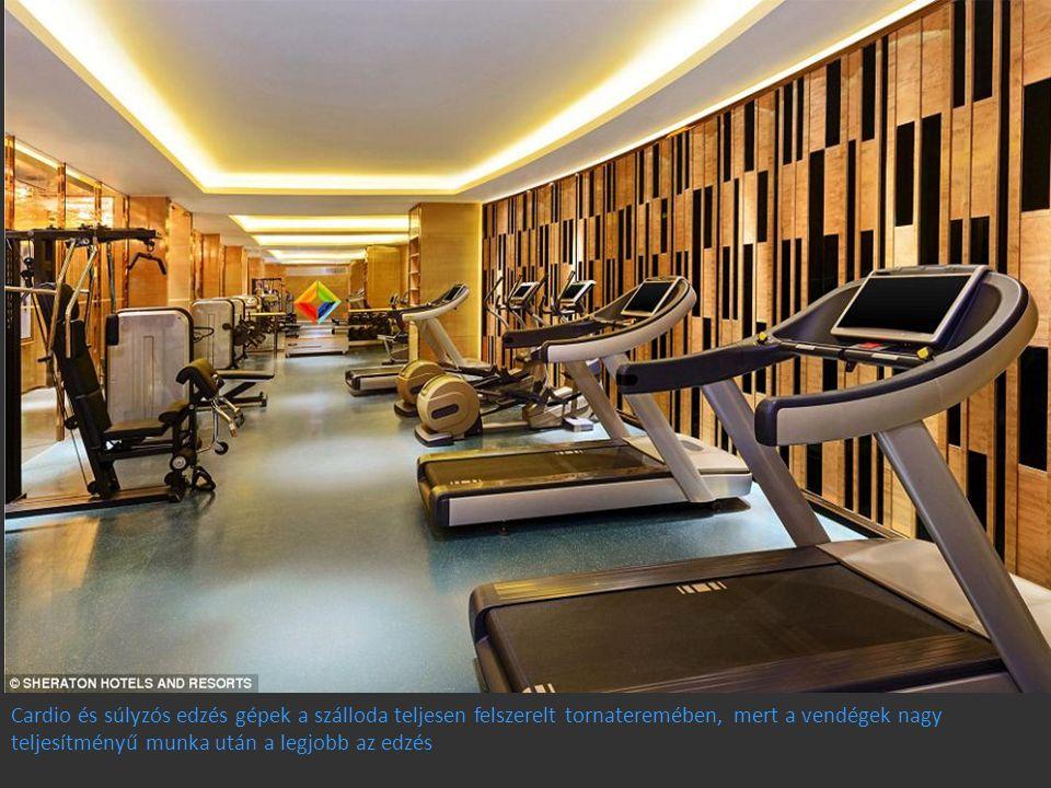 Cardio és súlyzós edzés gépek a szálloda teljesen felszerelt tornateremében, mert a vendégek nagy teljesítményű munka után a legjobb az edzés