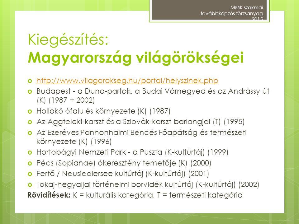 Kiegészítés: Magyarország világörökségei
