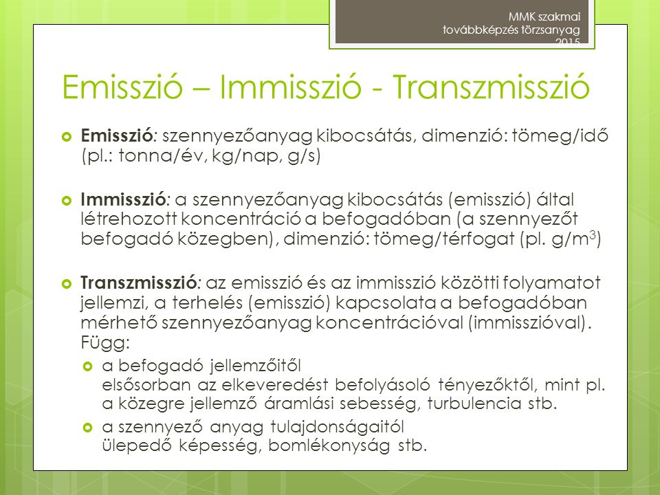 Emisszió – Immisszió - Transzmisszió