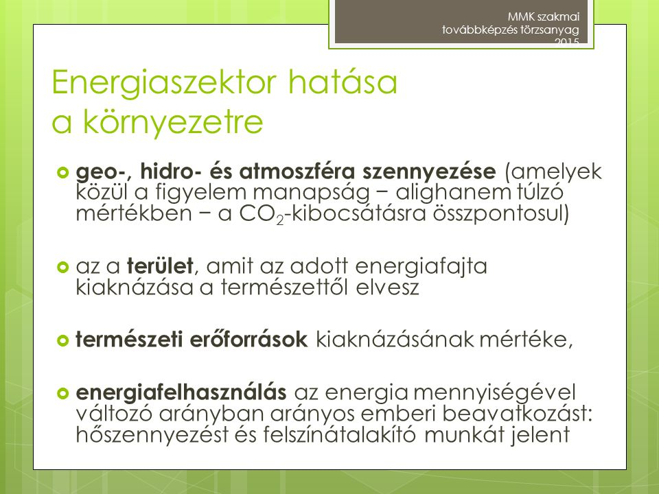 Energiaszektor hatása a környezetre