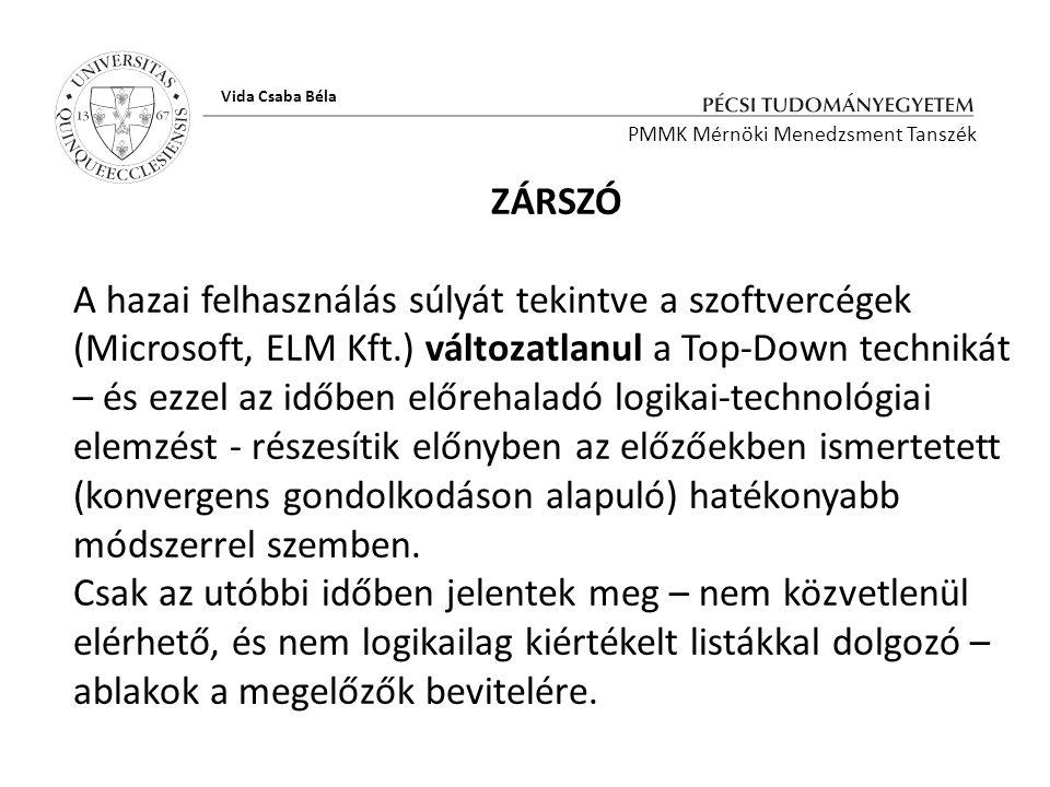 Vida Csaba Béla PMMK Mérnöki Menedzsment Tanszék. ZÁRSZÓ.