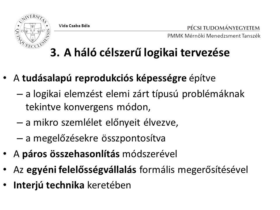 3. A háló célszerű logikai tervezése