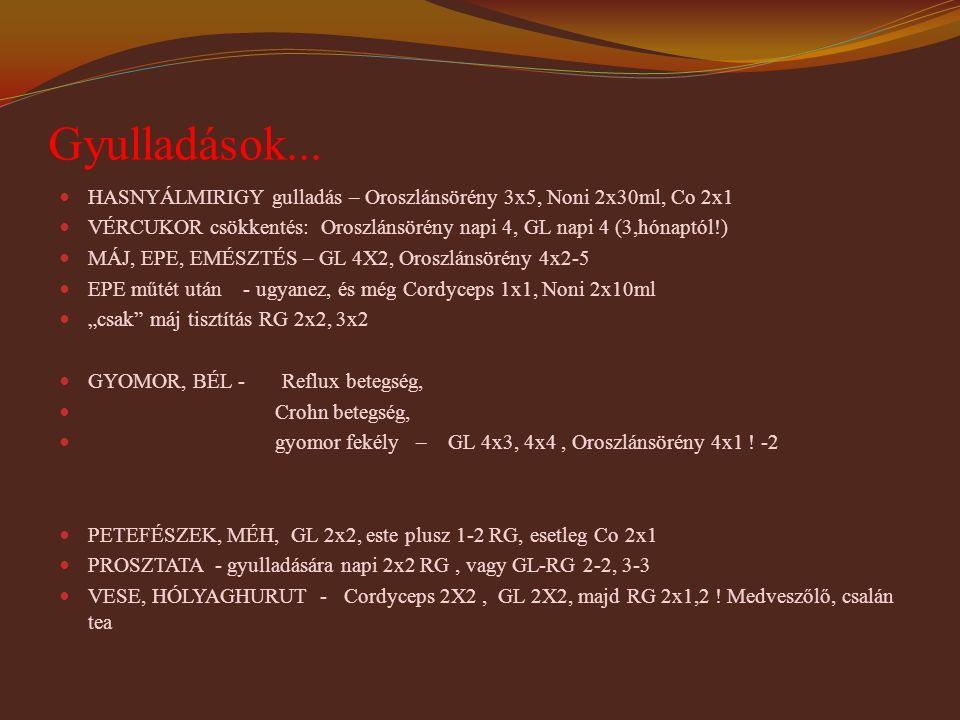 Gyulladások... HASNYÁLMIRIGY gulladás – Oroszlánsörény 3x5, Noni 2x30ml, Co 2x1.