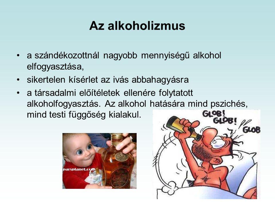 Az alkoholizmus a szándékozottnál nagyobb mennyiségű alkohol elfogyasztása, sikertelen kísérlet az ivás abbahagyásra.