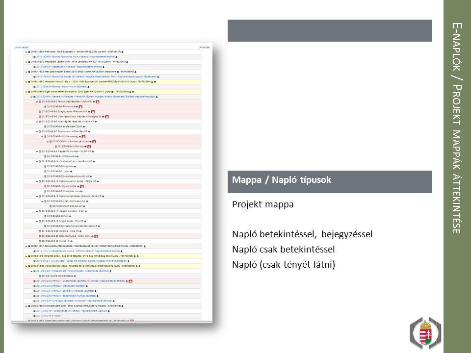 E-naplók / Projekt mappák áttekintése