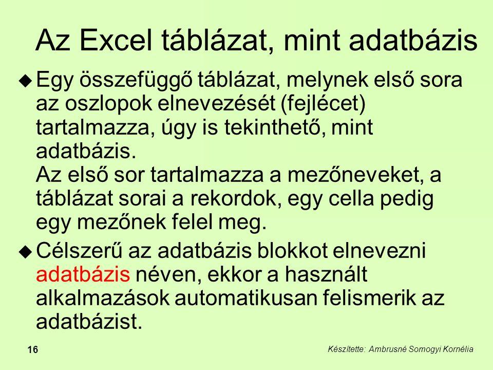 Az Excel táblázat, mint adatbázis