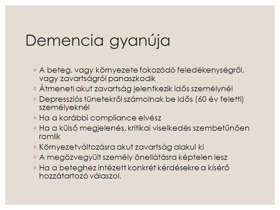 Demencia gyanúja A beteg, vagy környezete fokozódó feledékenységről, vagy zavartságról panaszkodik.