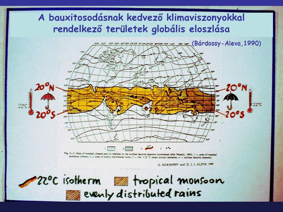 A bauxitosodásnak kedvező klimaviszonyokkal rendelkező területek globális eloszlása