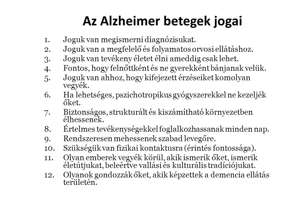 Az Alzheimer betegek jogai