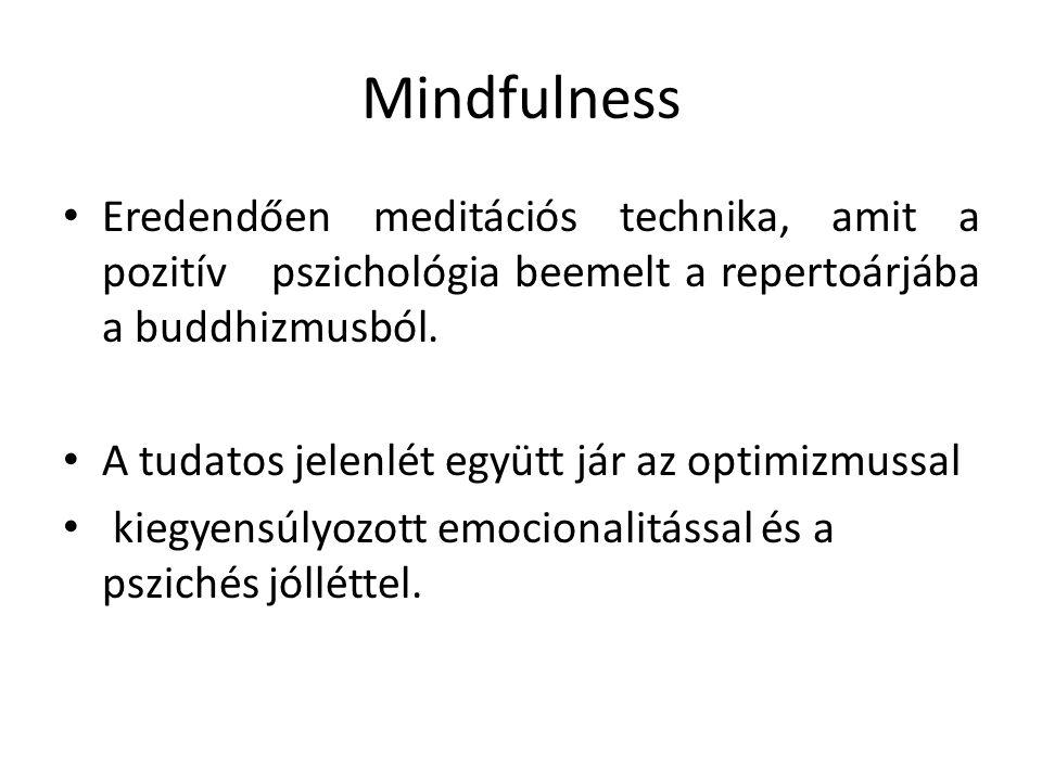 Mindfulness Eredendően meditációs technika, amit a pozitív pszichológia beemelt a repertoárjába a buddhizmusból.