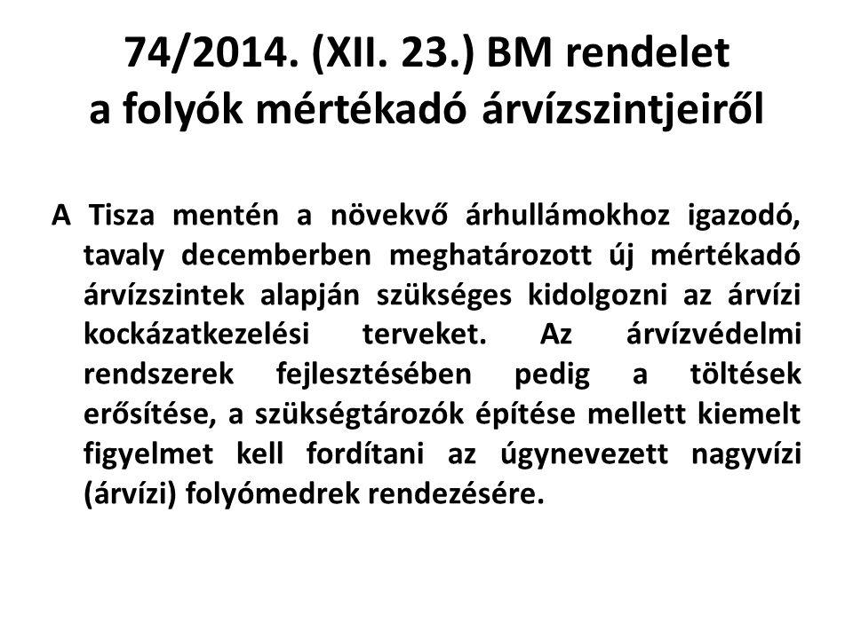 74/2014. (XII. 23.) BM rendelet a folyók mértékadó árvízszintjeiről