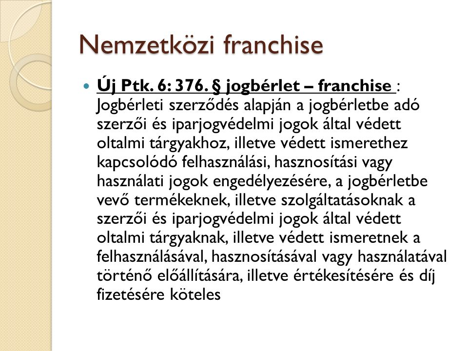 Nemzetközi franchise