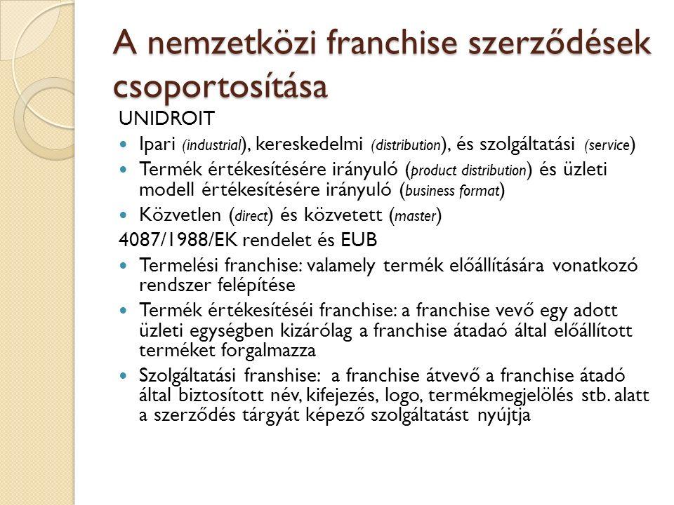A nemzetközi franchise szerződések csoportosítása