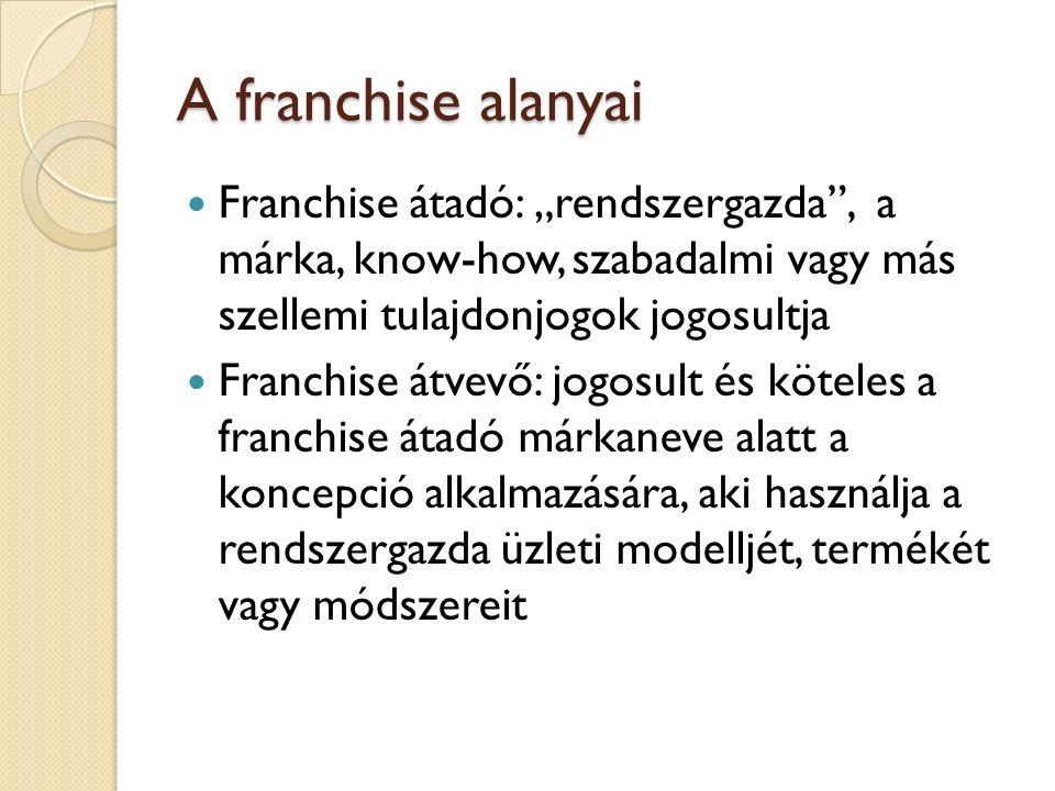 """A franchise alanyai Franchise átadó: """"rendszergazda , a márka, know-how, szabadalmi vagy más szellemi tulajdonjogok jogosultja."""