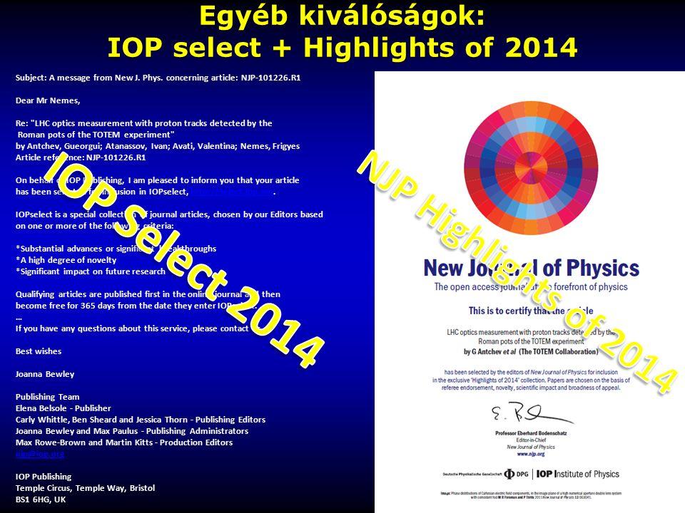Egyéb kiválóságok: IOP select + Highlights of 2014