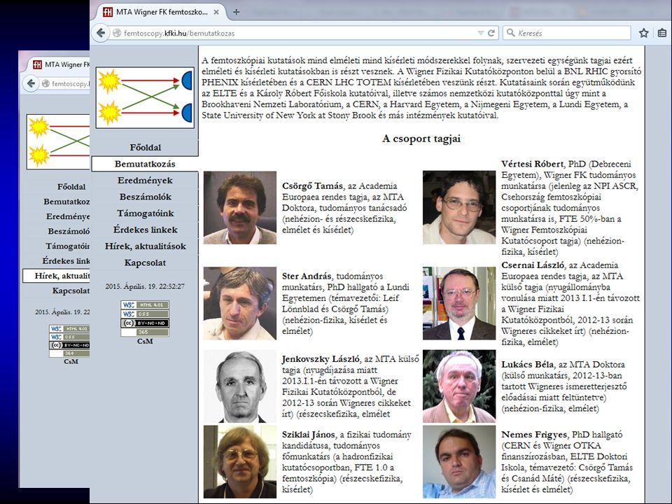 Femtoszkópia, honlap http://femtoscopy.kfki.hu/