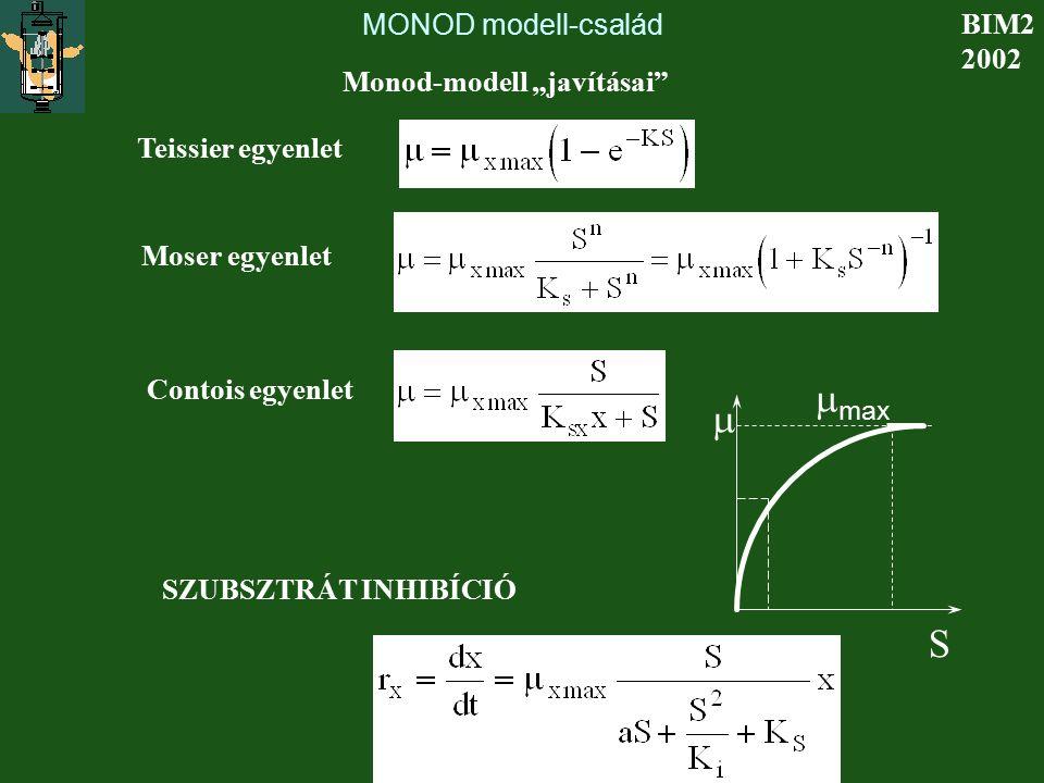 """mmax m S MONOD modell-család BIM2 2002 Monod-modell """"javításai"""