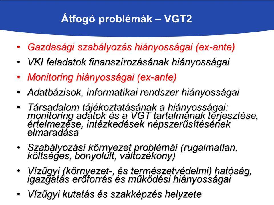 Átfogó problémák – VGT2 Gazdasági szabályozás hiányosságai (ex-ante)