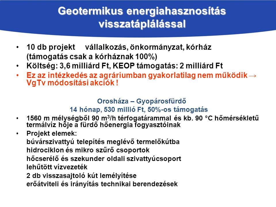 Geotermikus energiahasznosítás visszatáplálással