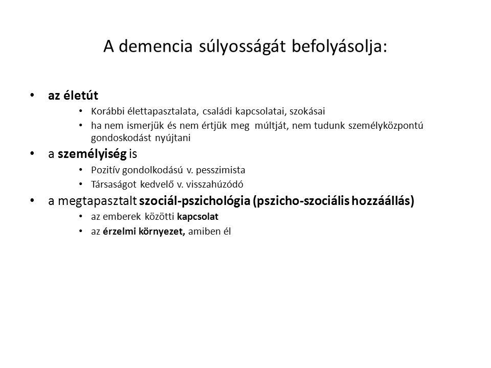 A demencia súlyosságát befolyásolja: