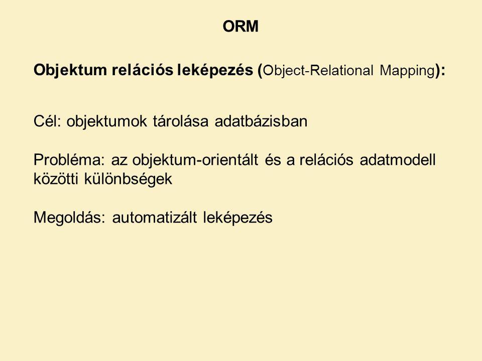 ORM Objektum relációs leképezés (Object-Relational Mapping): Cél: objektumok tárolása adatbázisban.