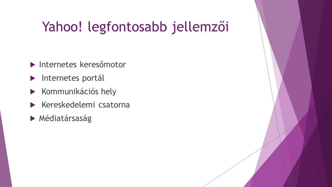 Yahoo! legfontosabb jellemzői