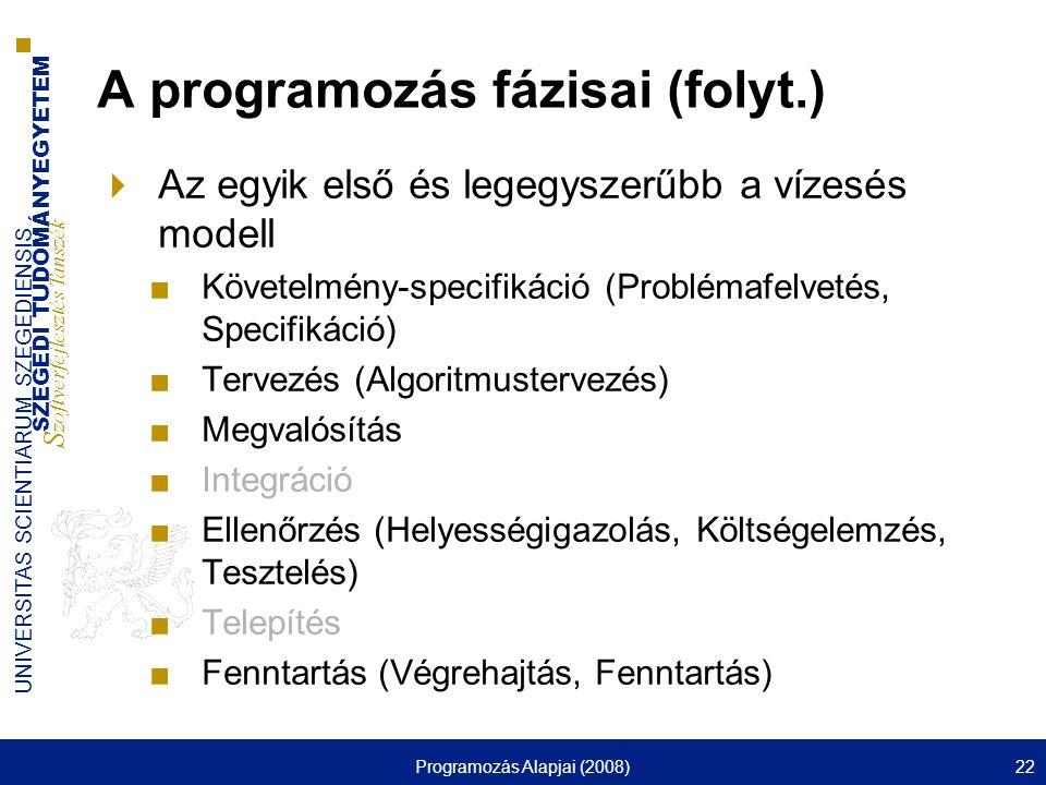 A programozás fázisai (folyt.)
