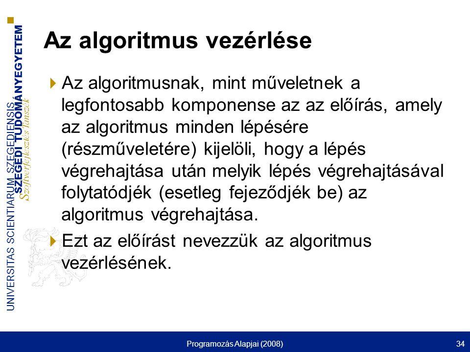 Az algoritmus vezérlése