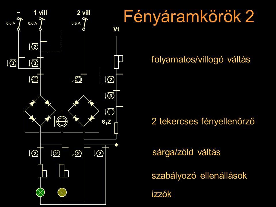 Fényáramkörök 2 folyamatos/villogó váltás 2 tekercses fényellenőrző