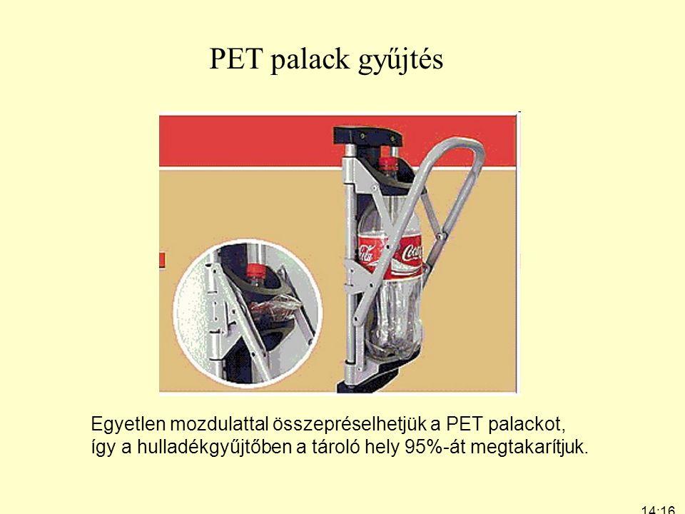 PET palack gyűjtés Egyetlen mozdulattal összepréselhetjük a PET palackot, így a hulladékgyűjtőben a tároló hely 95%-át megtakarítjuk.