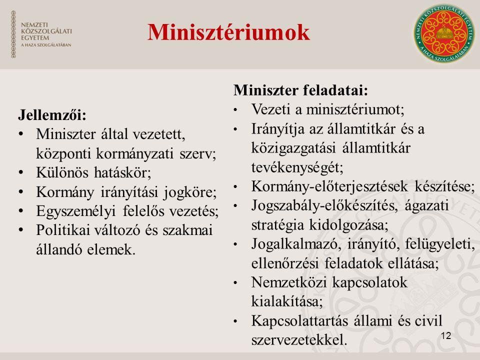 Minisztériumok Miniszter feladatai: Vezeti a minisztériumot;