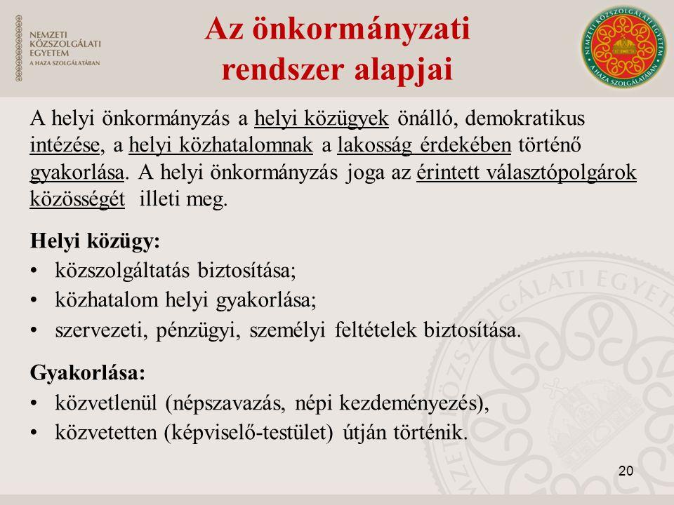Az önkormányzati rendszer alapjai