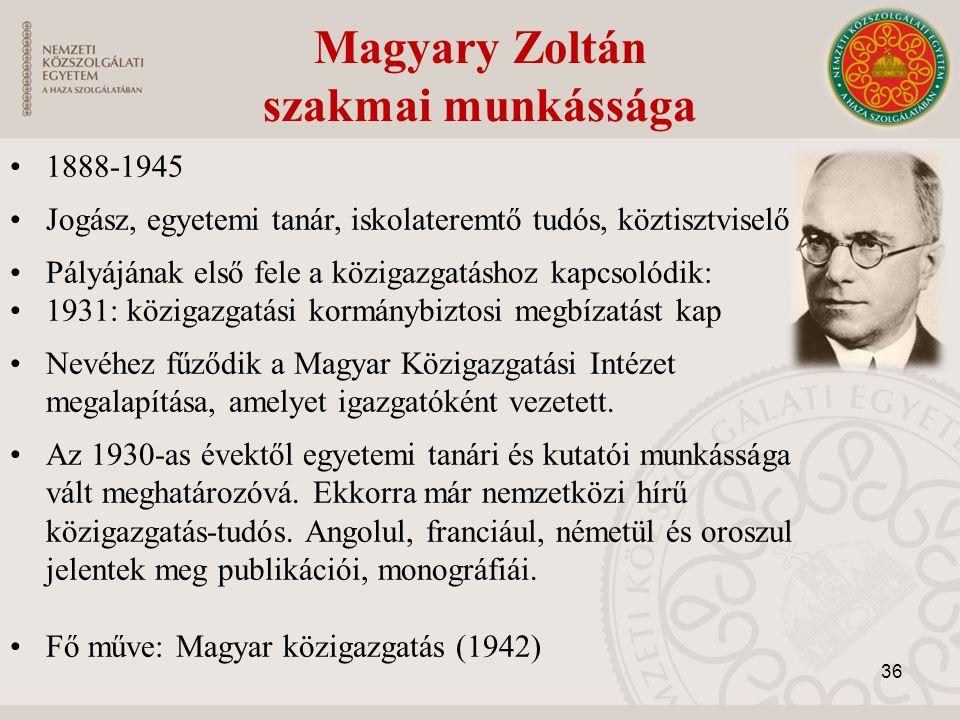 Magyary Zoltán szakmai munkássága