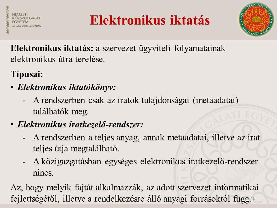 Elektronikus iktatás Elektronikus iktatás: a szervezet ügyviteli folyamatainak elektronikus útra terelése.