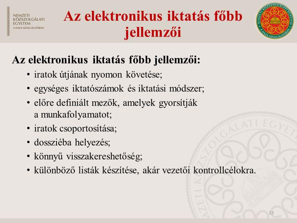 Az elektronikus iktatás főbb jellemzői