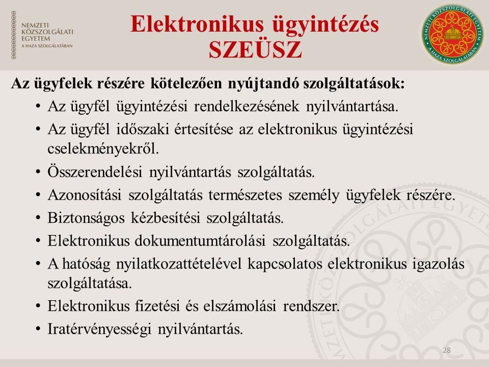 Elektronikus ügyintézés SZEÜSZ