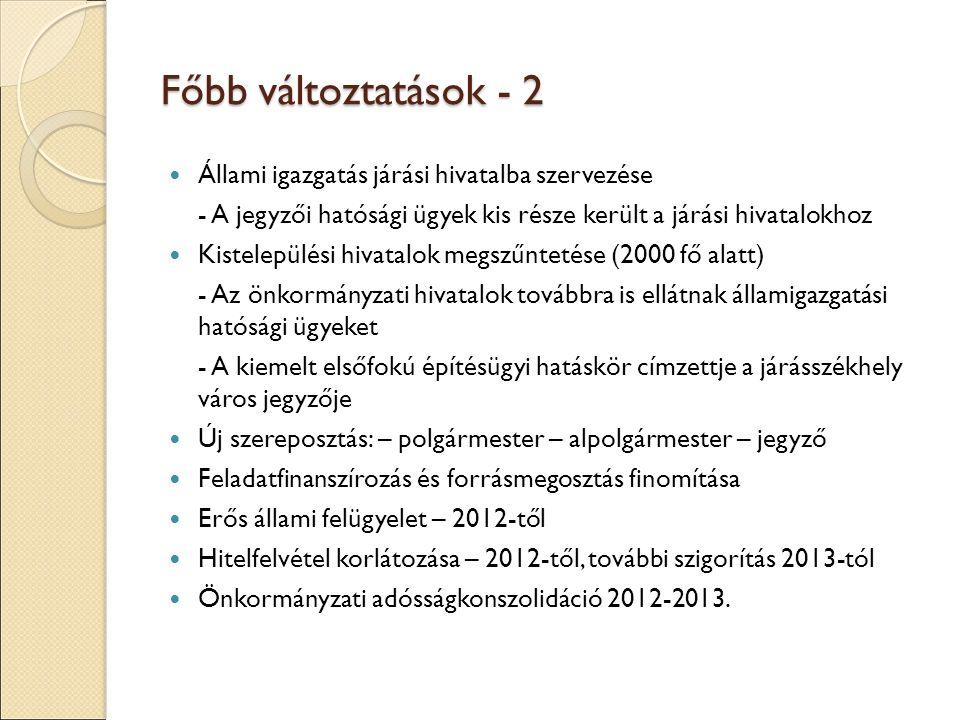 Főbb változtatások - 2 Állami igazgatás járási hivatalba szervezése