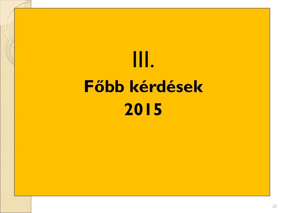 III. Főbb kérdések 2015