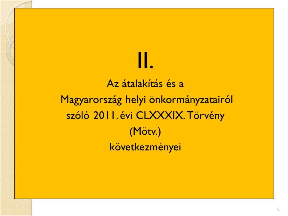 II. Az átalakítás és a Magyarország helyi önkormányzatairól