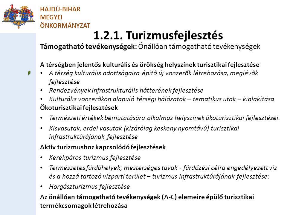 HAJDÚ-BIHAR MEGYEI. ÖNKORMÁNYZAT. 1.2.1. Turizmusfejlesztés. Támogatható tevékenységek: Önállóan támogatható tevékenységek.