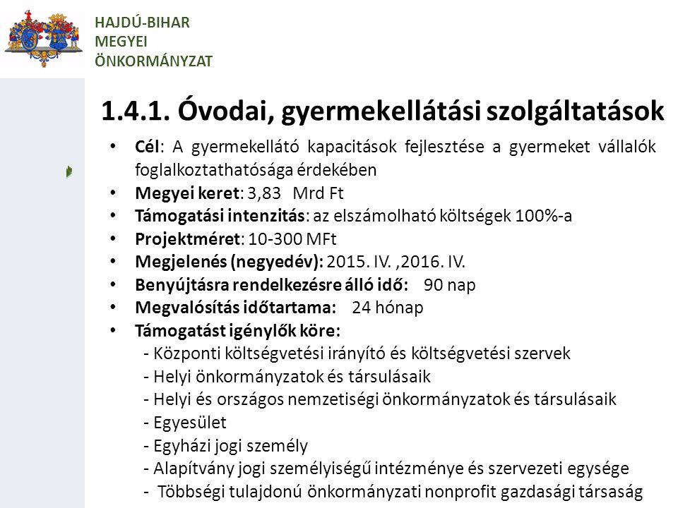 1.4.1. Óvodai, gyermekellátási szolgáltatások