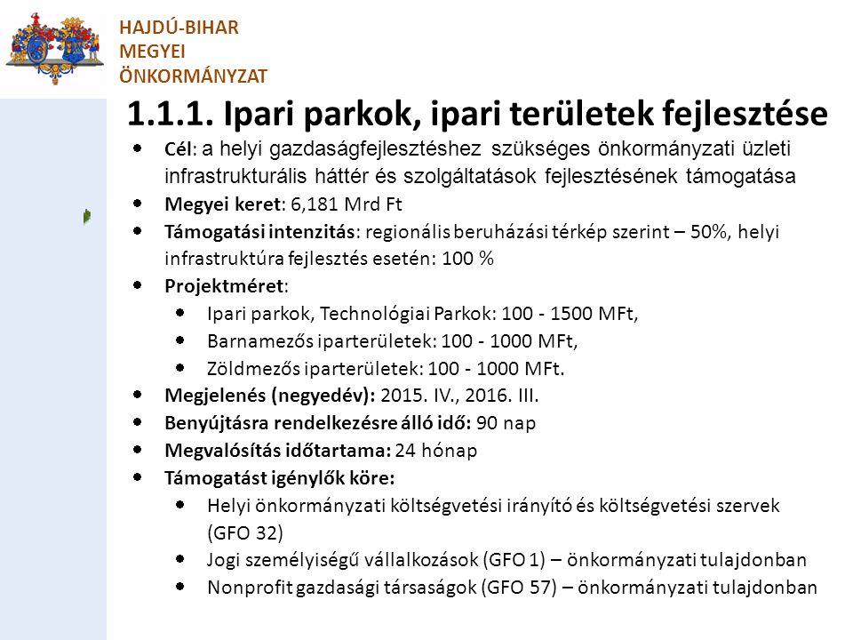 1.1.1. Ipari parkok, ipari területek fejlesztése
